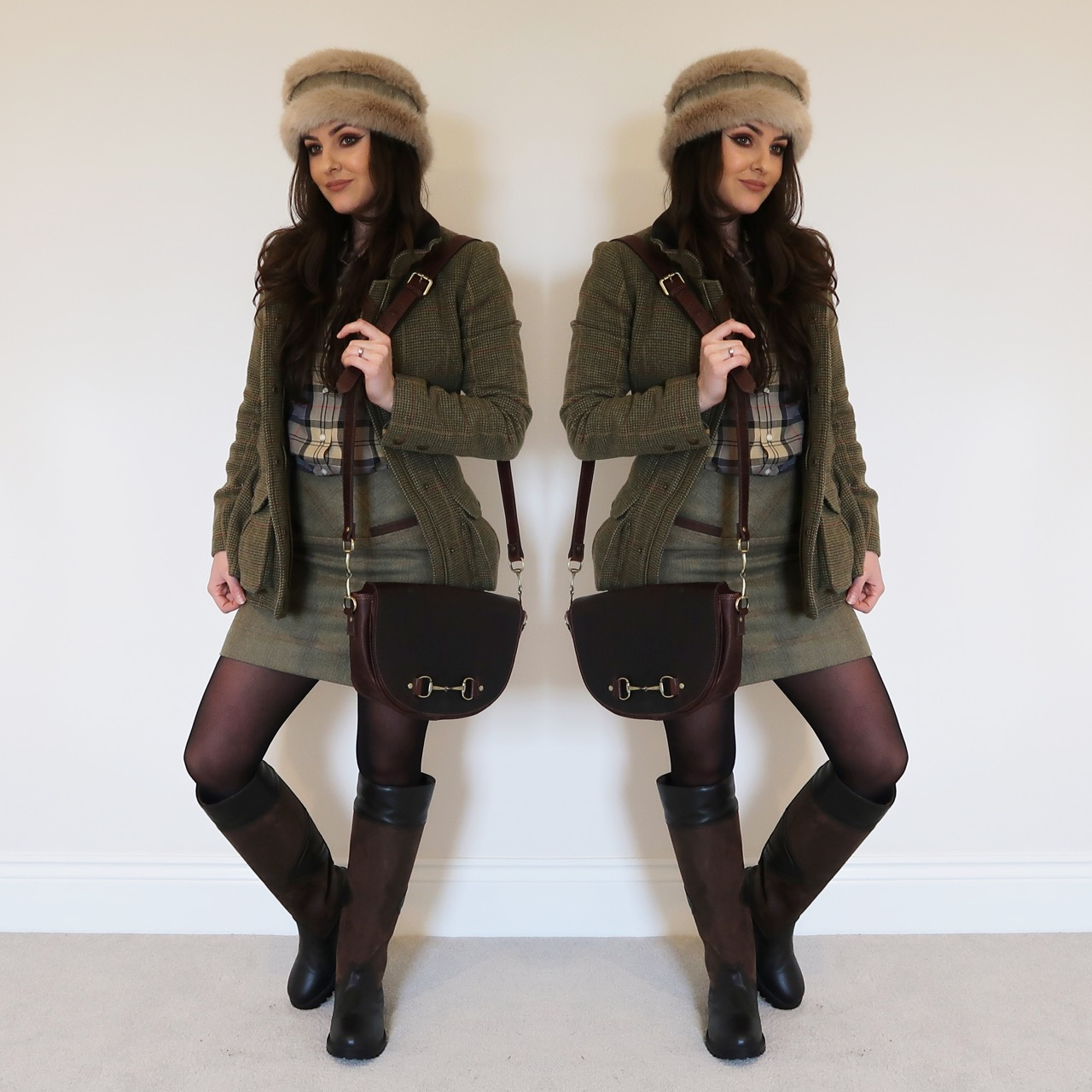 charlotte in england Annabel Brocks: Tweed & Faux Fur Headwarmer