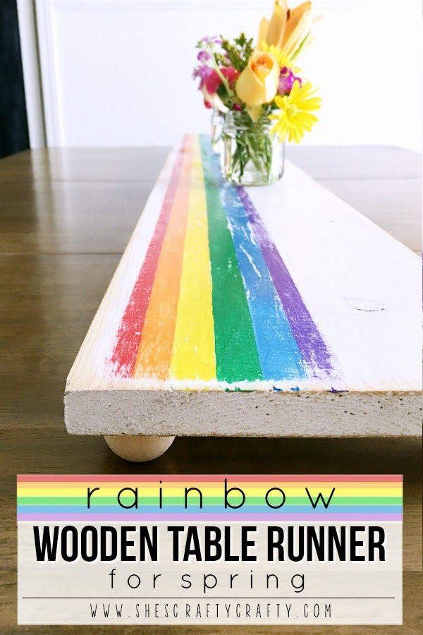 Decorate your Spring Table with a DIY Rainbow Wooden Table Runner