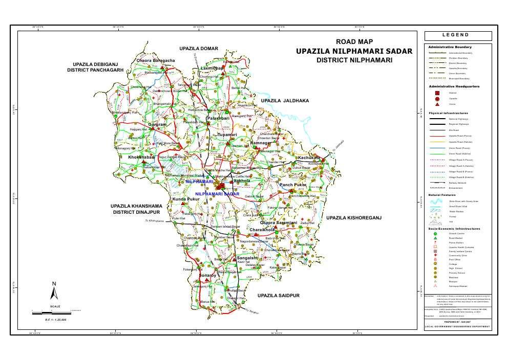 Nilphamari Sadar Upazila Road Map Nilphamari District Bangladesh