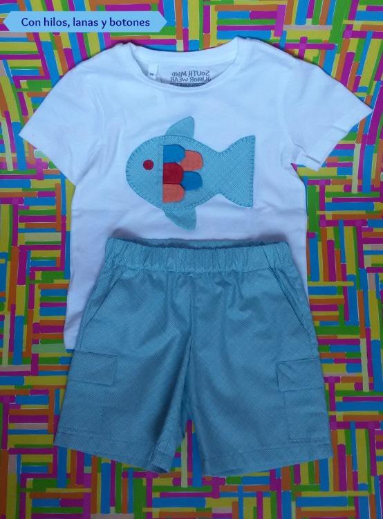 Conhiloslanasybotones: conjunto bermudas y camiseta pez