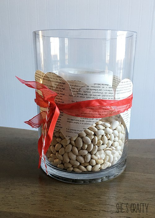 glass centerpiece, paper hearts, bean jar filler