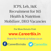 ICPS, Leh, J&K Recruitment for 165 Health & Nutrition Mobilizer, DEO Vacancies