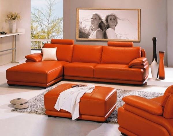 diseño sala gris naranja
