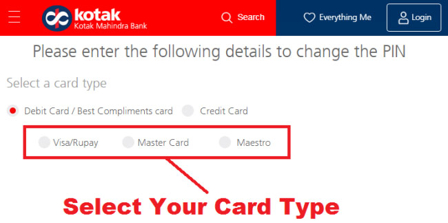 how to change kotak debit card pin online