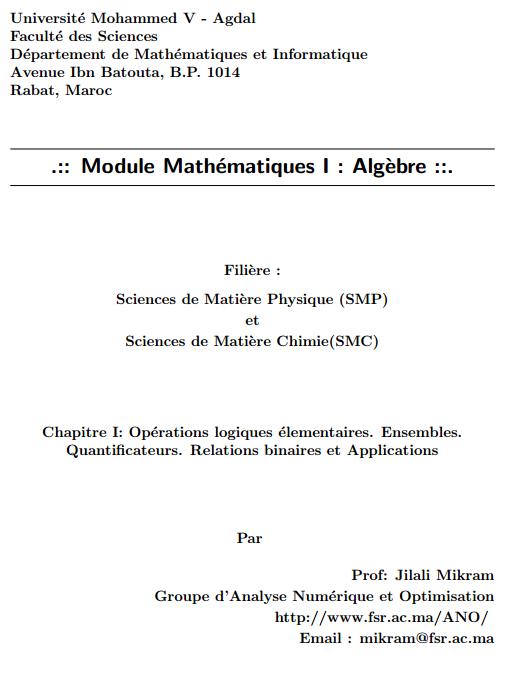 Cours d'algebre smpc s1