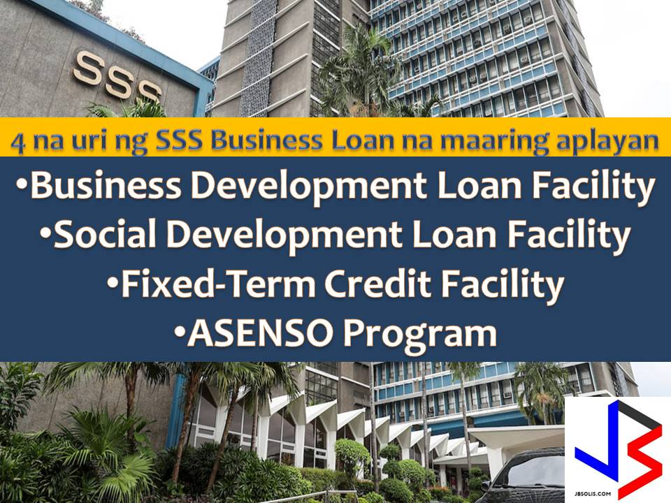 The Business Development Loan Facility is a lending facility of the Social Security System (SSS) designed to contribute to the nation's economic growth and development by providing financial assistance to the business sector for the purpose of increasing productivity and enhancing potential earnings through expansion, diversification and other business development projects.  It also aims to support the government's program of invigorating economic activity and providing more employment opportunities.
