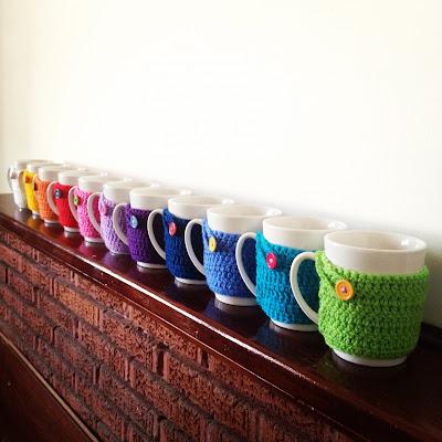 Rainbow mug cosies