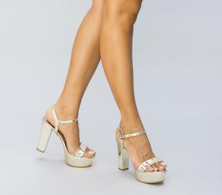 Sandale aurii cu platforma si toc gros de zi
