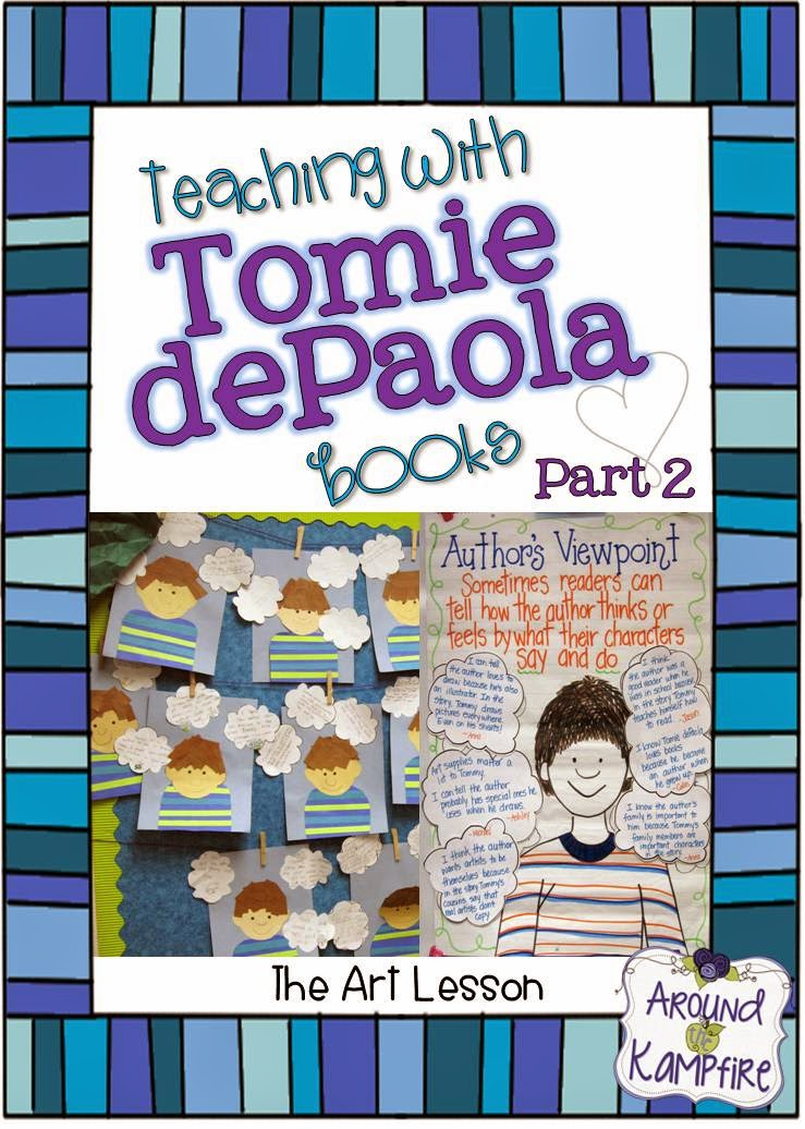This teacher shares lots of creative ideas and activities for teaching reading comprehension, author's viewpoint, character traits and story structure, as well as ideas for anchor charts when teaching with The Art Lesson and Tony's Bread by Tomie dePaola | Around the Kampfire blog