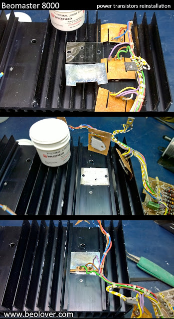 beolover beomaster 8000 right channel output board re checked the center transistor is tightly installed and now anchors the wiring harness so the remaining transistors will be easier the next transistor i installed