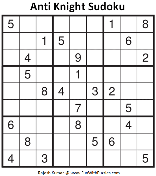 Anti Knight Sudoku Puzzle (Fun With Sudoku #328)