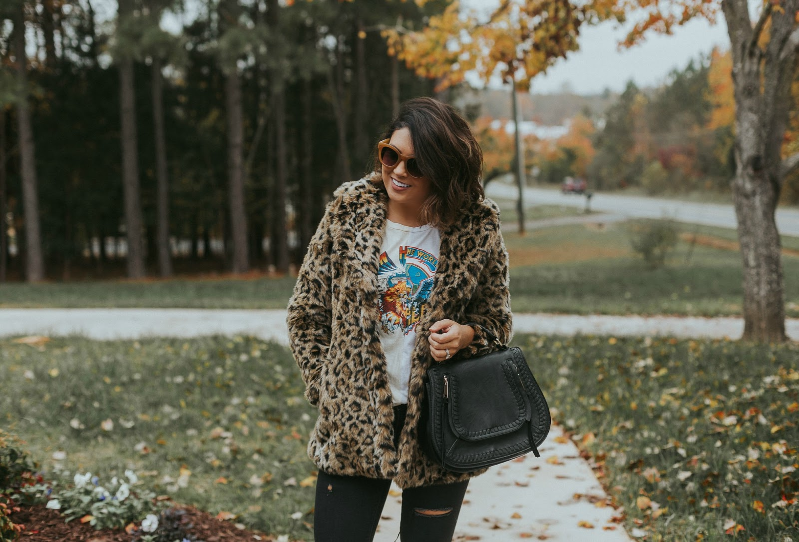 faux leopard coat, band tee, rebecca minkoff saddle bag, life and messy hair, samantha brooke, xo samantha brooke