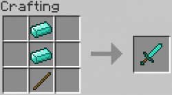 2 Diamonds + 1 Stick => 1 Diamond Sword