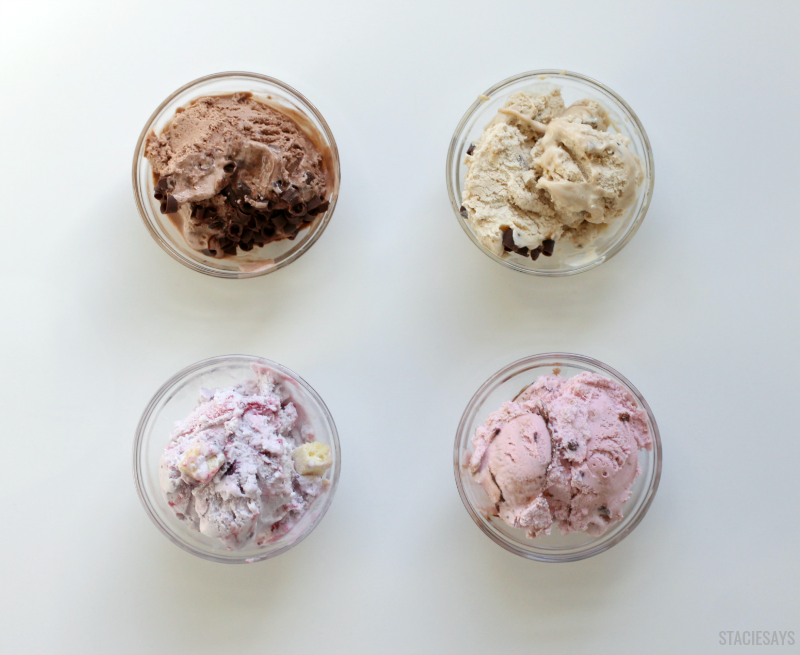 four bowls of different flavored ice cream