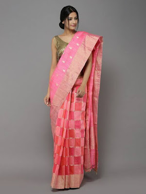 Beautiful Indian Model Girl In Peach-Pink Handwoven Dupion Saree.