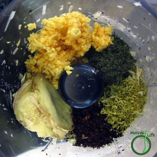 Morsels of Life - Thai Red Curry Paste Step 3 - Add in ginger, garlic, cilantro, zest, and chili powder.