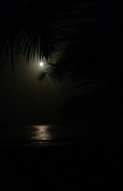 Full moon on Agonda Beach at Holi.  Amasc