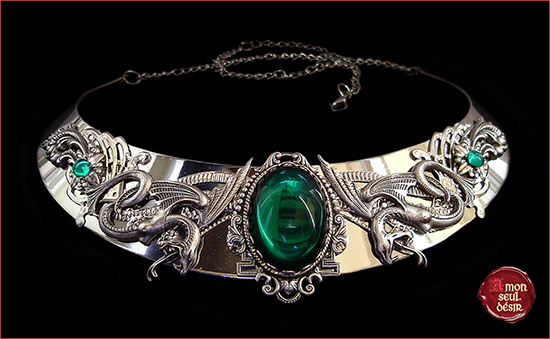 Salazar Serpentard Collier serpents argent vert green silver snake Slytherin Necklace