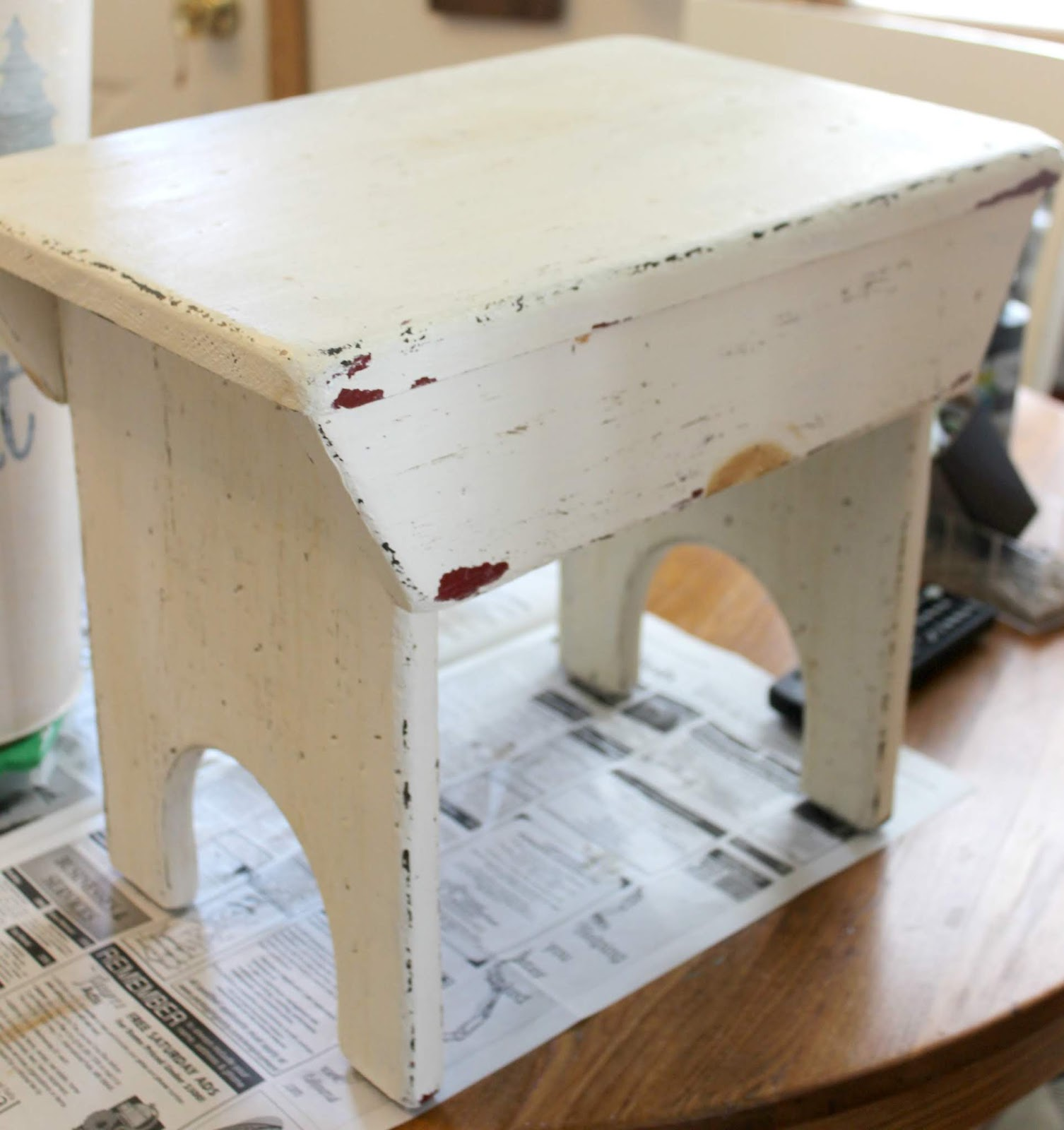 Awesome Upcycling A Stool With Paint And A Herringbone Stencil Andrewgaddart Wooden Chair Designs For Living Room Andrewgaddartcom