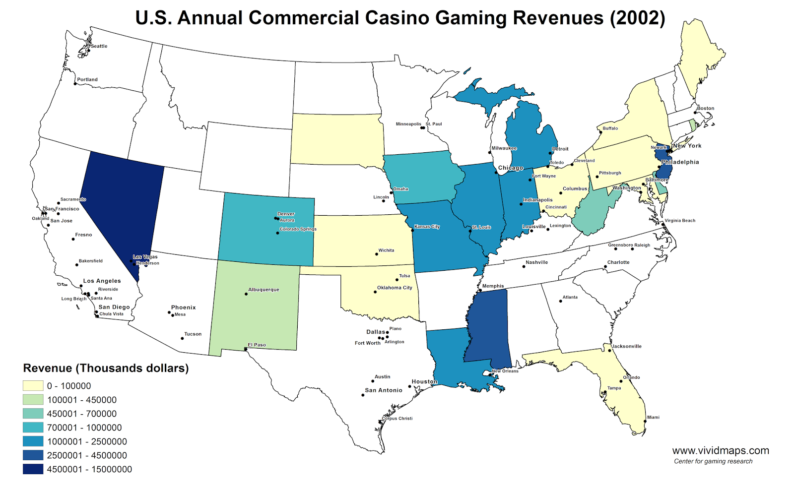U.S. Annual Commercial Casino Gaming Revenues (2002)