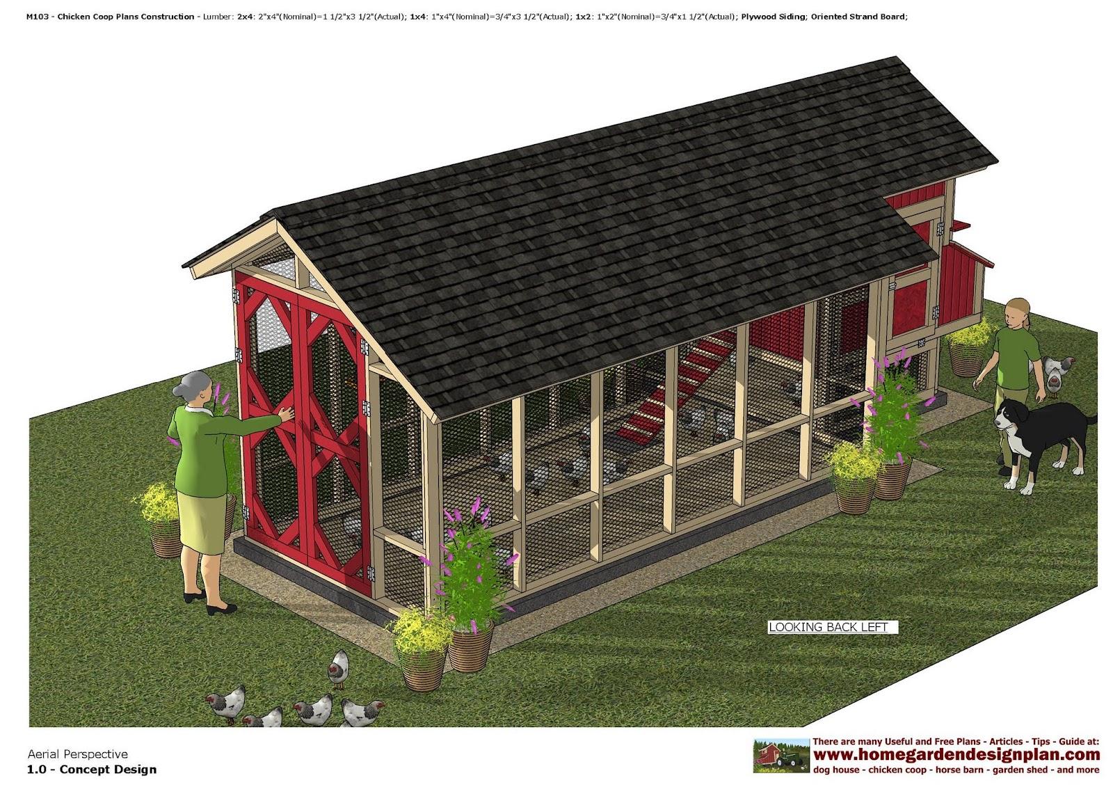 Home garden plans m103 chicken coop plans chicken for Chicken coop designs for 3 chickens