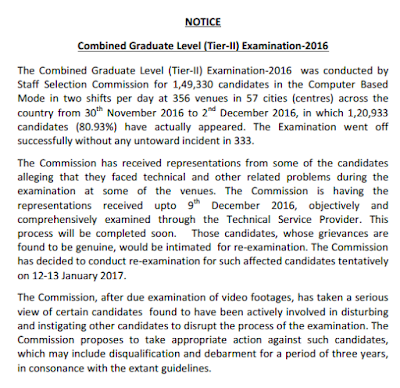 notice-for-ssc-combined-graduate-level-tier-ii-re-examination-2016