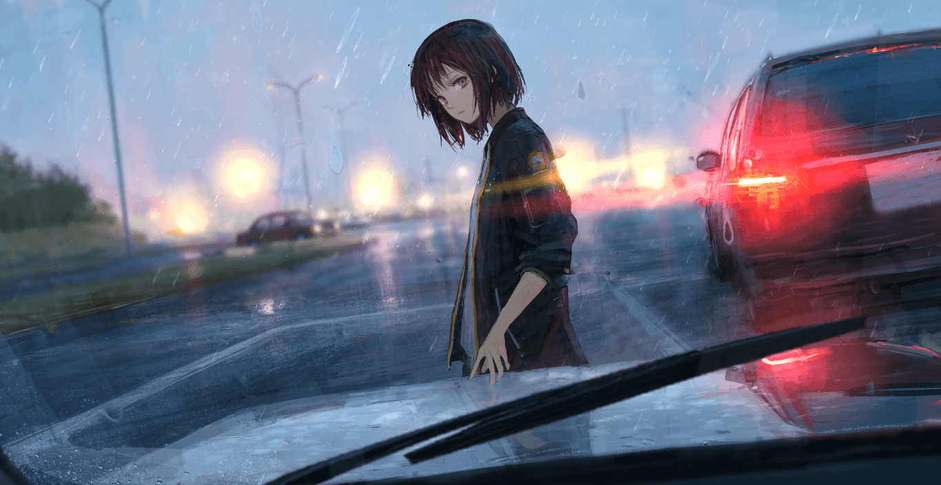 rainy car ー しおん wallpaper engine anime