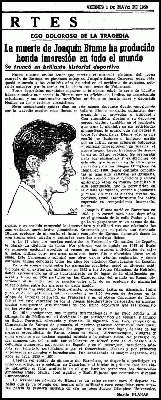 Reseña en La Vanguardia publicada el 1 de Mayo de 1959