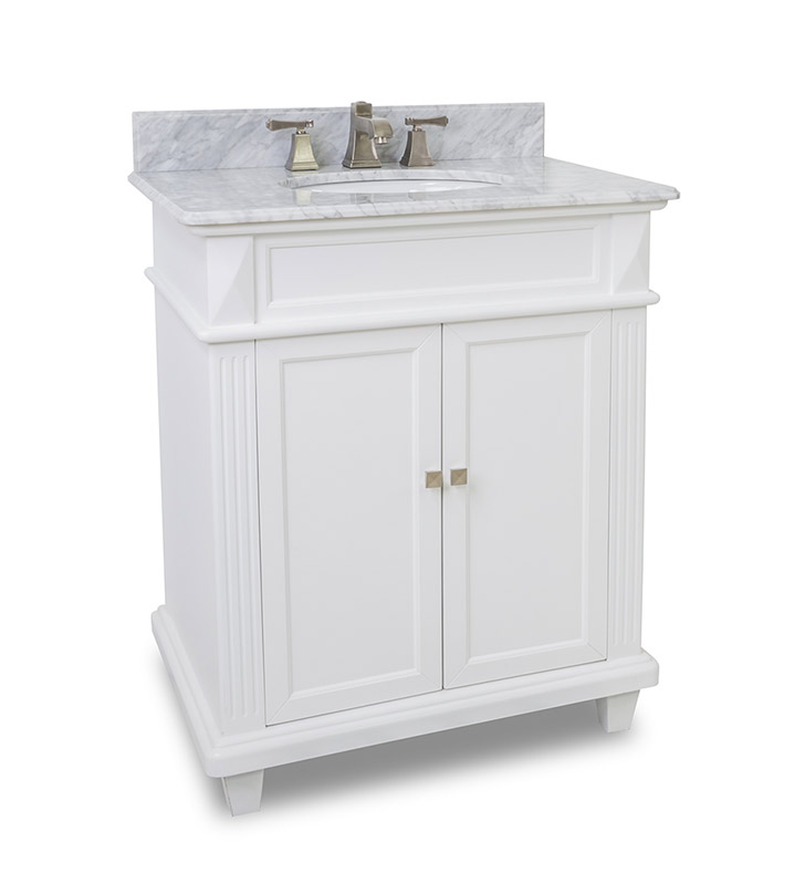 30 inch Classic White Bathroom Vanity Marble Top