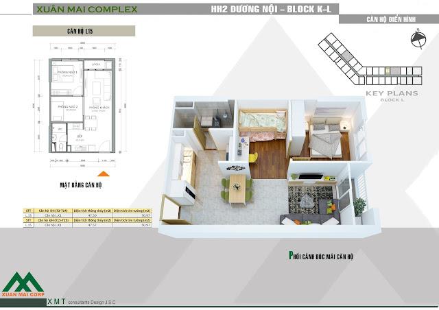Thiết kế căn hộ 47m (tòa L) - Xuân Mai Complex