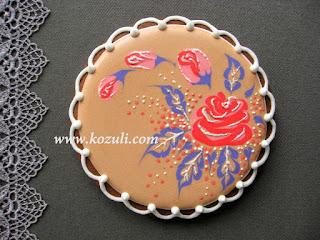 Роспись цветочного пряника с розой (по мокрой глазури), видео мастер-класс. Роспись пряников глазурью (айсингом)