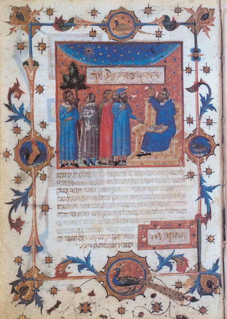page from a 14th-century manuscript of the Guide. The figure seated on the chair with Stars of David is thought to be Aristotle