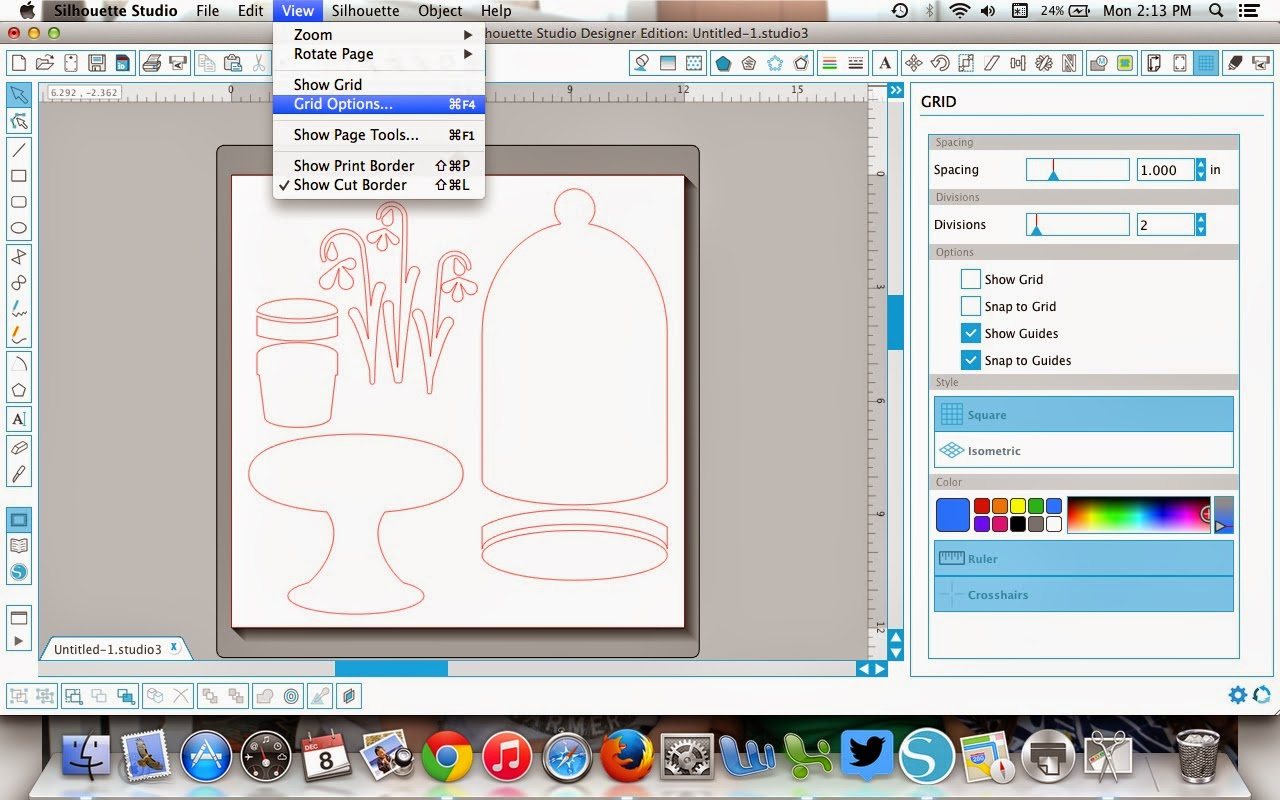 Silhouette Studio, turn off, crosshairs, Silhouette tutorial, troubleshooting, grid options