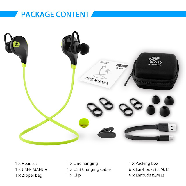 Soundpeats Qy7 Mini Lightweight Wireless Sports Headset (Black/Green).