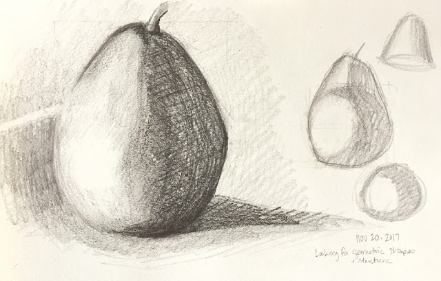Daily Art 11-20-17 still life sketch in graphite number 23-24 - pear