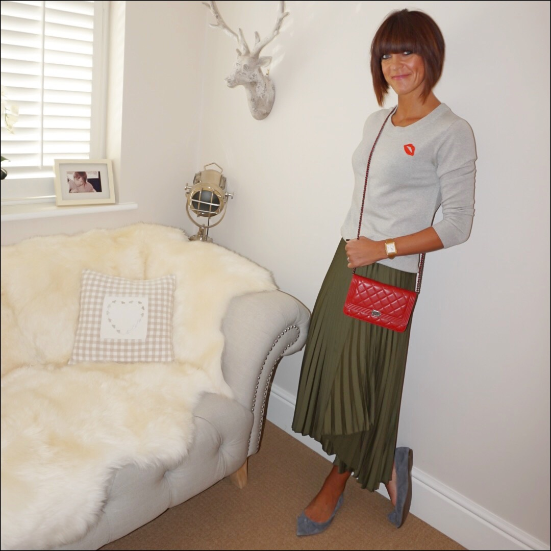 My midlife fashion, j crew tippi sweater, chanel wallet on chain, marks and spencer stain pleated midi skirt, j crew suede tassel pointed flats