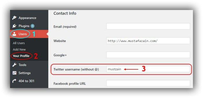 cara setting twitter pada profil Wordpress