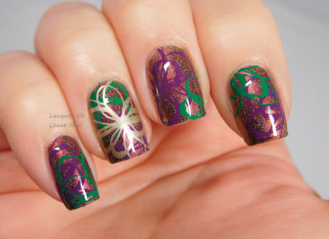 Shinespark Polish Pretty Unicorn + UberChic Beauty 10-01 + Messy Mansion stamping polishes