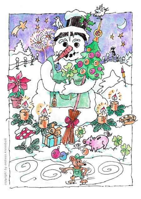 Der geliebte Schneemann mit vielen Weihnachtsgeschenken