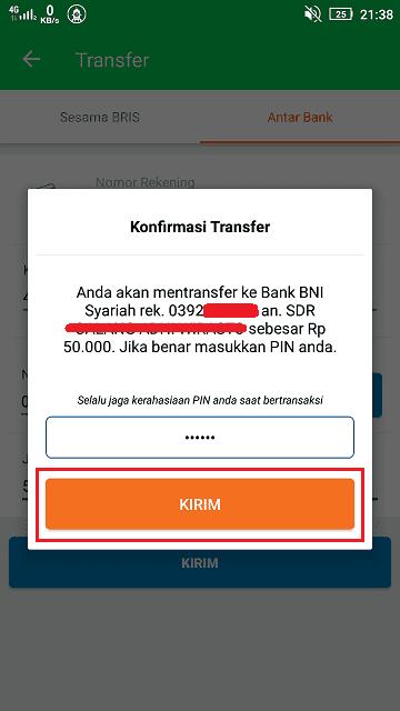 Masukkan PIN ATM untuk melakukan konfirmasi transfer saldo