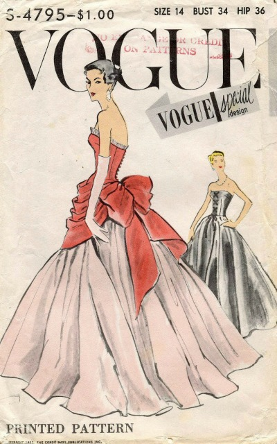 1950's Vogue Evening Dress Pattern