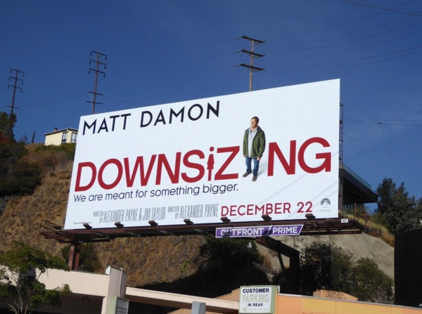Matt Damon Downsizing billboard