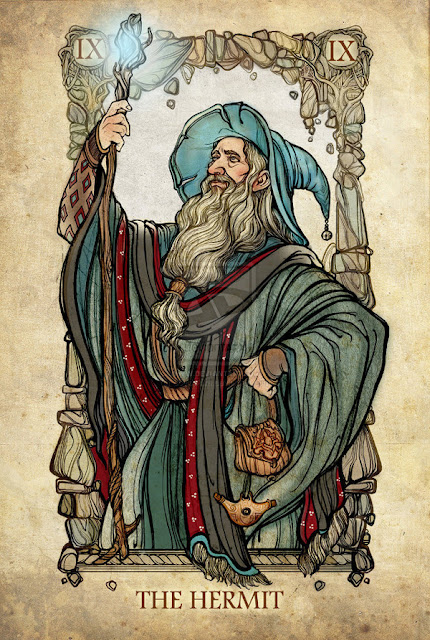 Senhor dos anéis em cartas de tarô - O eremita