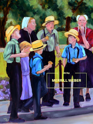 Sandwiches and Sensible Shoes original oil painting of an Amish family having a picnic in the park by Pennsylvania artist Merrill Weber