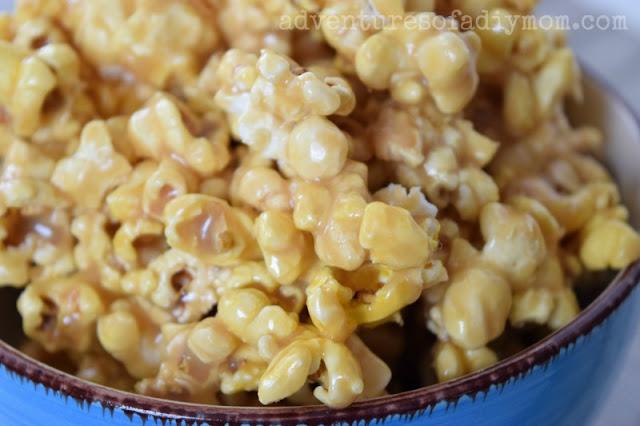 bowl of homemade caramel popcorn