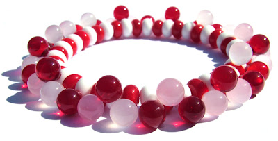 Lampwork glass bead stretch bracelet