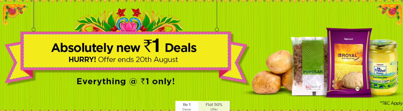Big basket offer/ Rs 1 offer for grocery products - LOOT