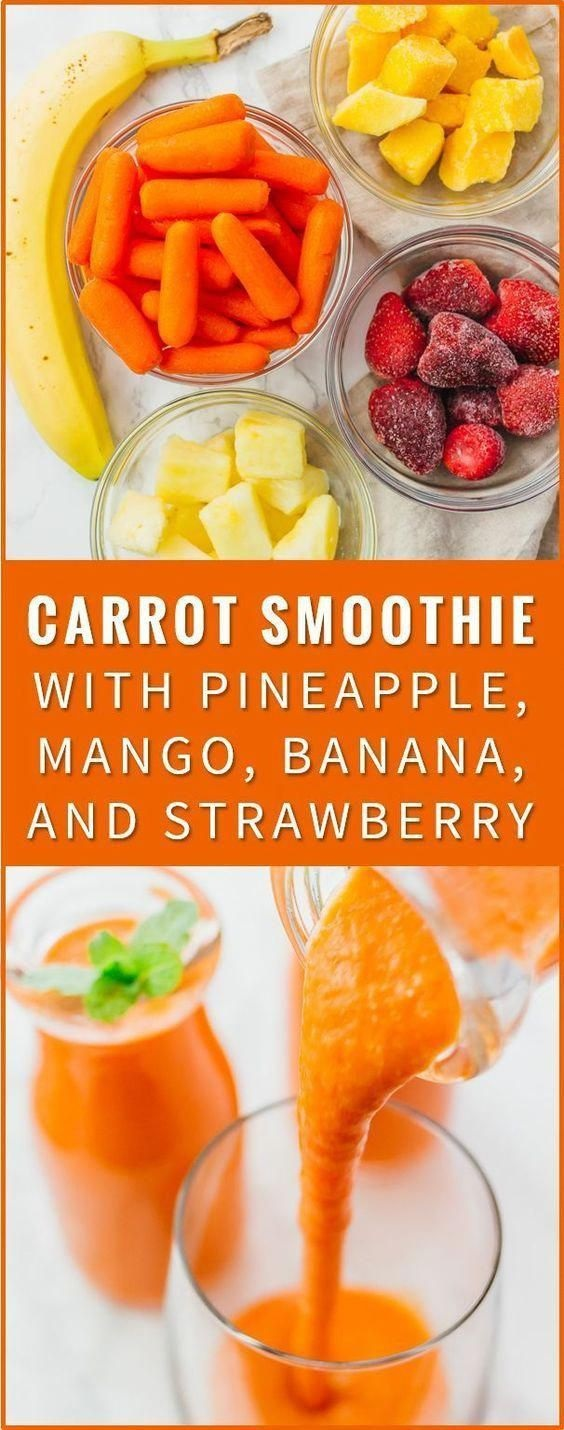 Carrot Smoothie With Pineapple, Banana, And Mango