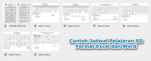 Contoh Jadwal Pelajaran SD Format Excel dan Word