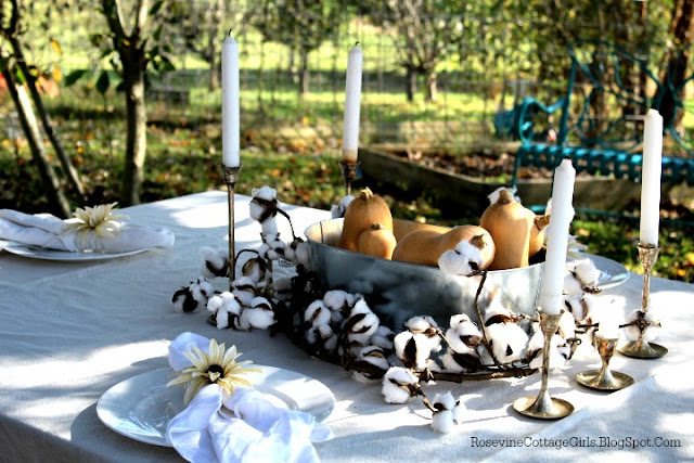 Outdoor table set with white tablecloth, white plates, galvinized steel container with squash, a cotton branch around the container. Silver candlesticks. Fall Farmhouse Tablescape